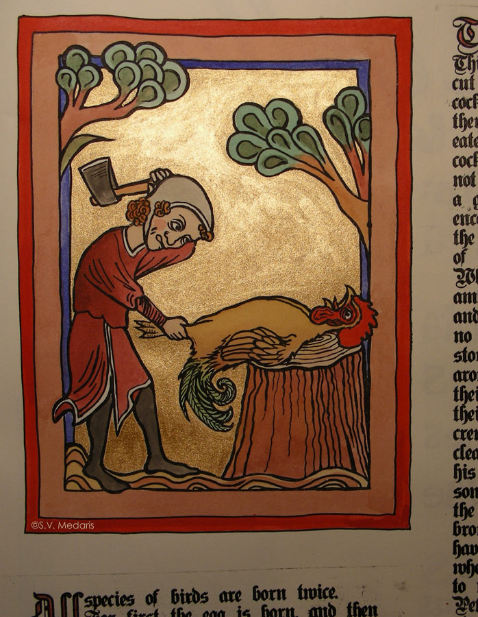 closeup of late gothic scene of chicken about to be axed