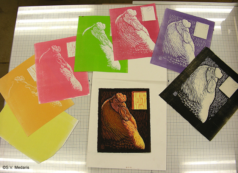colored prints surround full-color final 7-color reduction woodcut