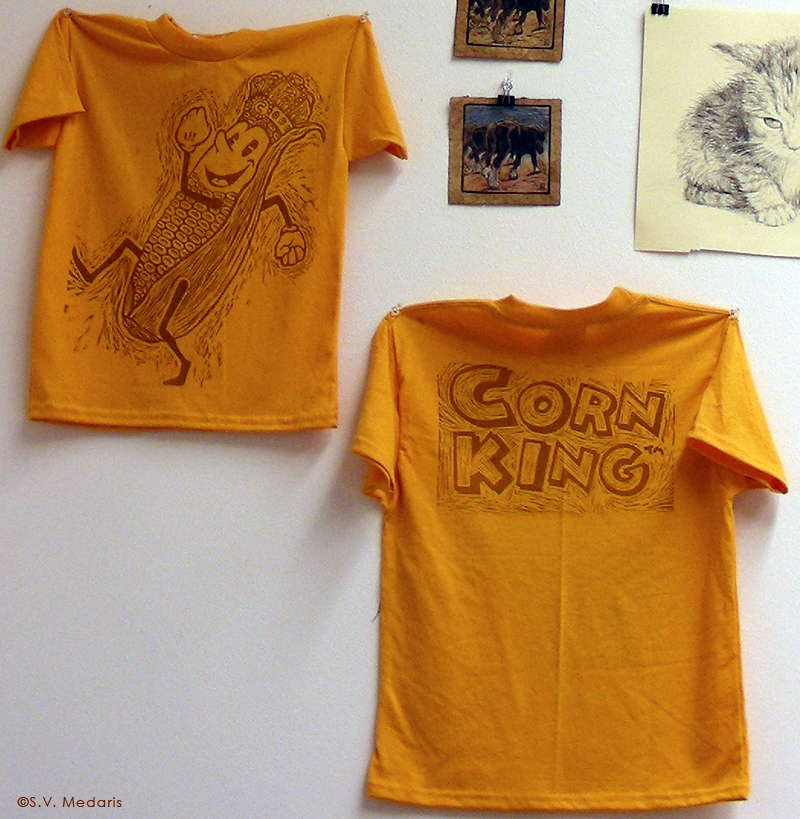 Corn King printed on t-shirts by S.V. Medaris