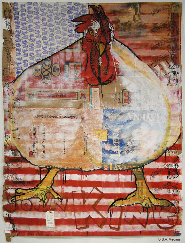 chicken, white, broiler, obese, printmaking, acrylic, feed sacks, mixed media