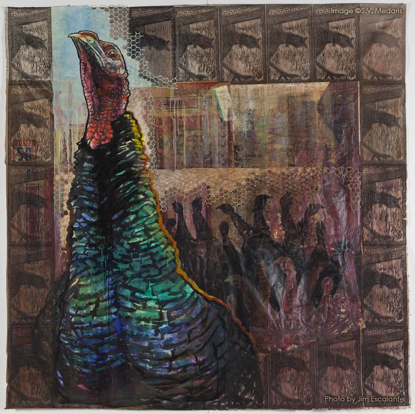 Mixed media piece of large turkey challenging viewer, turkey silhouettes in background