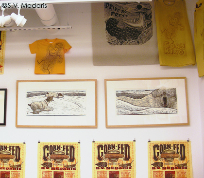 prints and t-shirts inside S.V. Medaris' studio