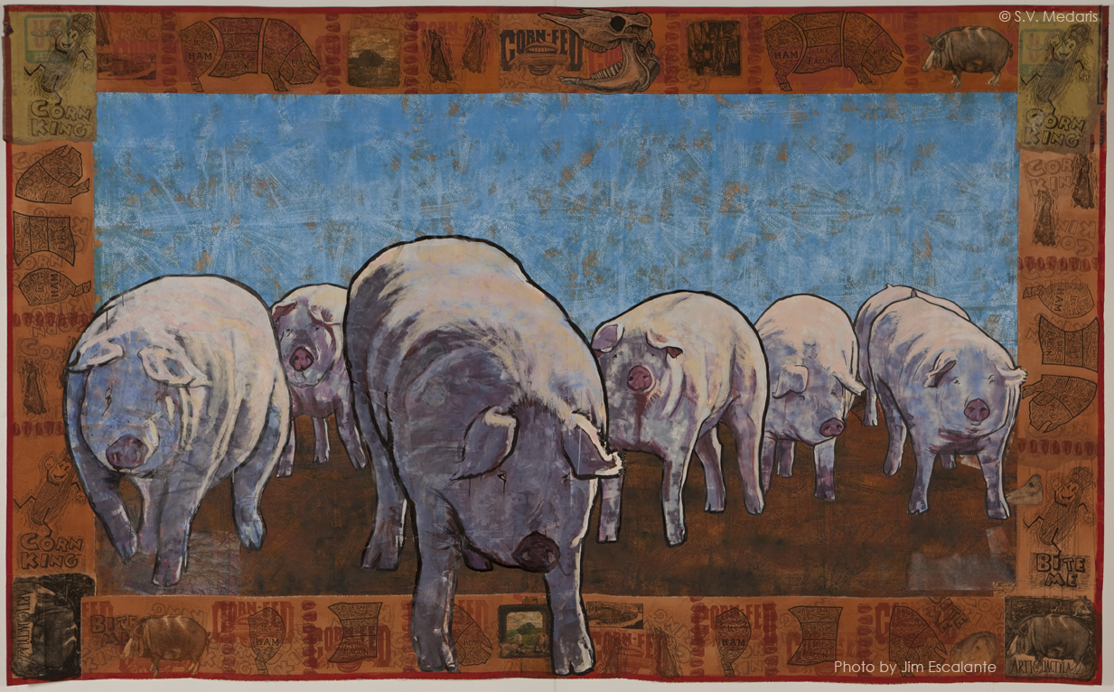 7  hogs  advance in mixed media piece The Magnificent Seven by S.V.  Medaris