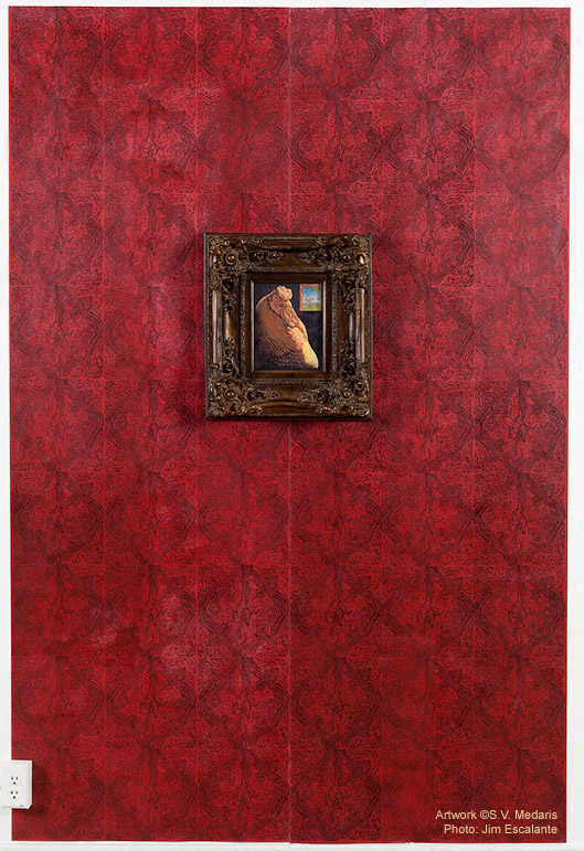fancy, baroque frame around detailed chicken portrait, all mounted on red, patterned wallpaper