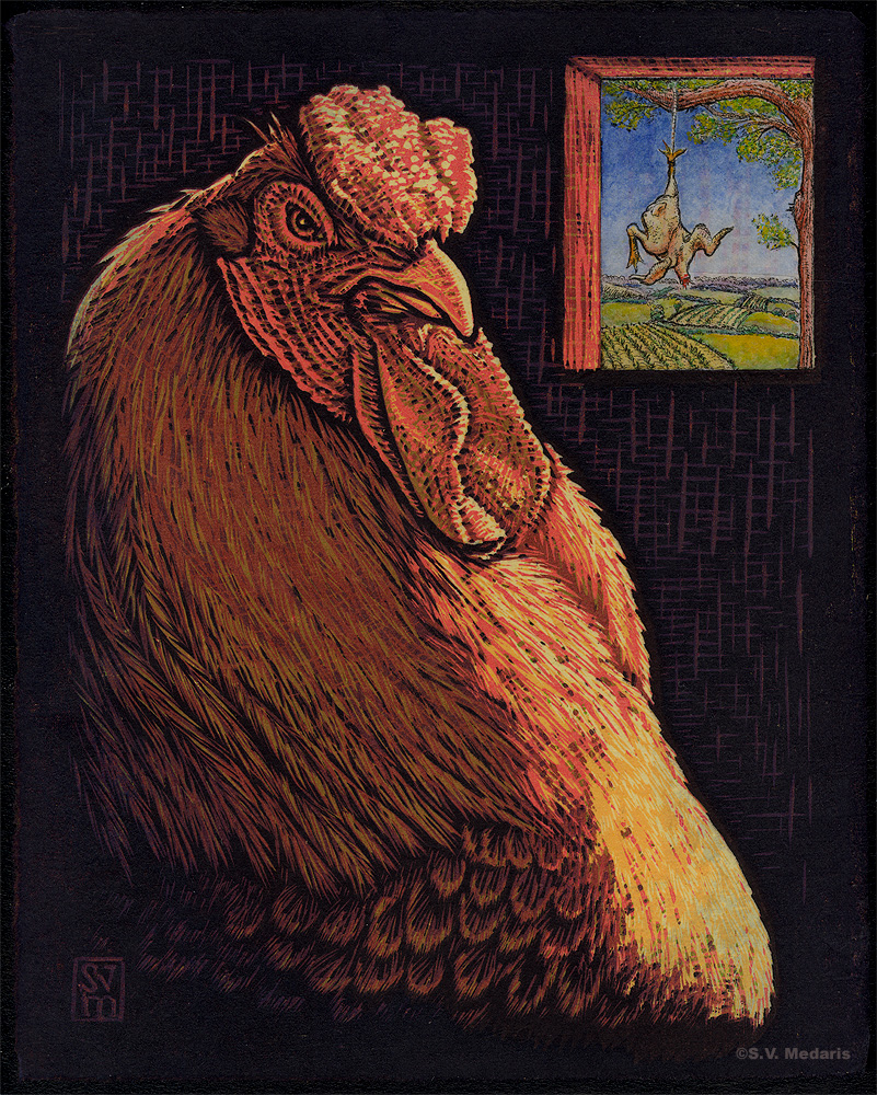 reduction woodcut of chicken beside window, scene outside window shows hanging, plucked chicken