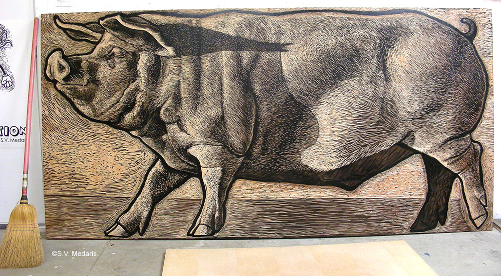 The woodcut block (4x8ft) of hog.