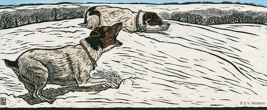 S.V. Medaris relief print of little terriers stalking