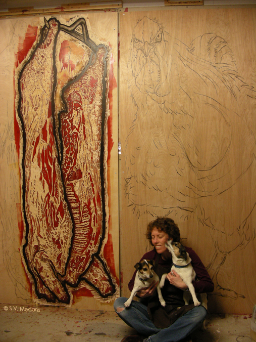 carcass image carved in woodblock done