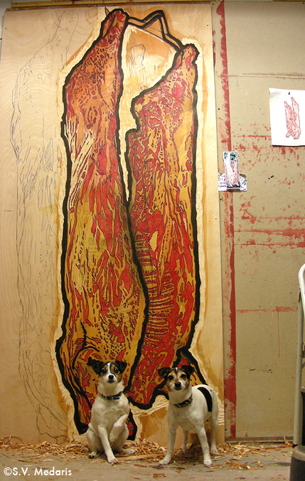 8x4ft block of birch plywood with drawing of pig carcass on it
