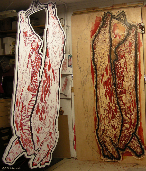 woodcut-printed carcass, applied to form and hanging from hook