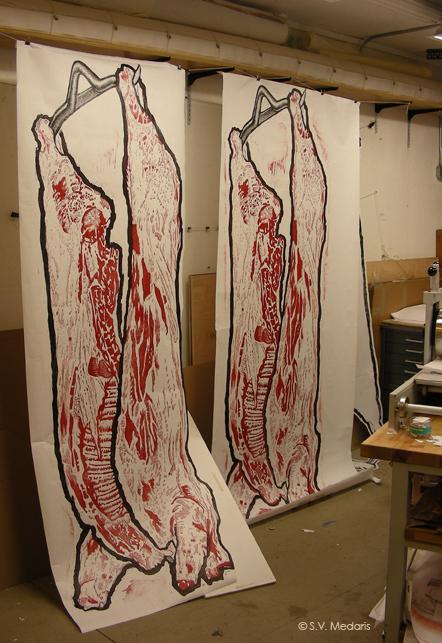 8ft prints of hog carcass