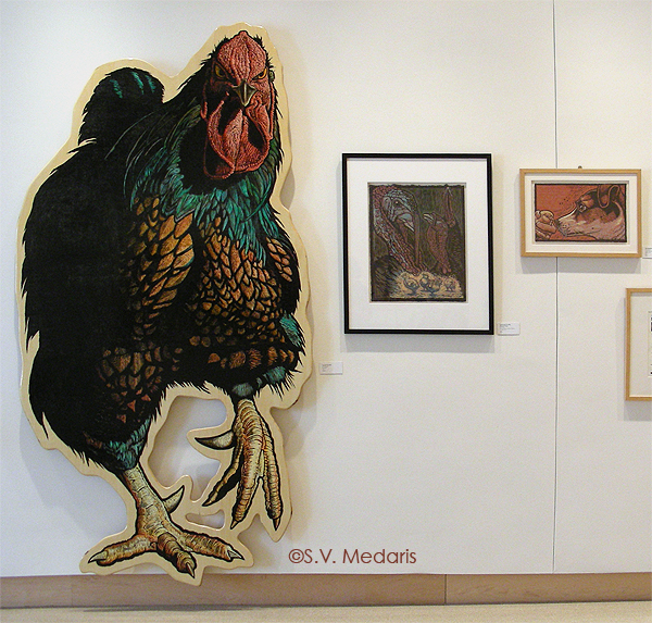 8ft hand-colored woodcut chicken