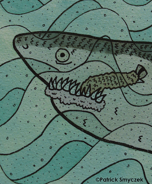 closeup of screen-printed shark eating an animal's leg