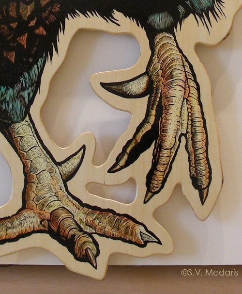 closeup of woodcut of giant chicken feet