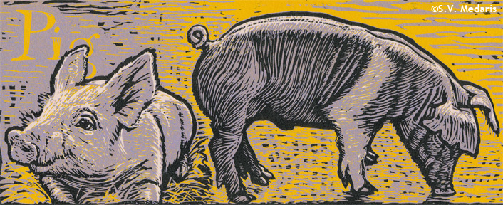 reduction relief print of pigs in purple, yellow, black and pink
