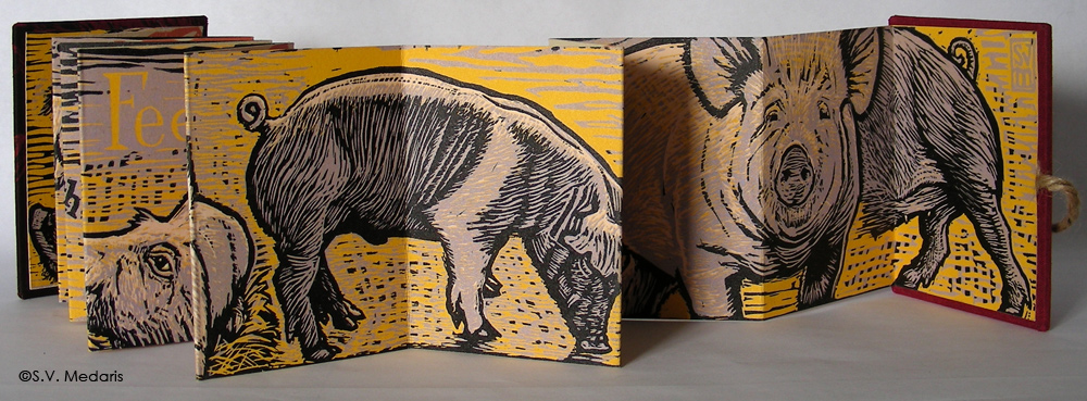 reduction relief print of pigs
