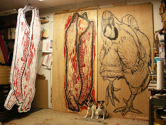 2 little dogs about to be stepped on by giant chicken. Hanging woodcut carcass to their right.