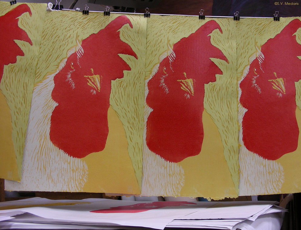 woodcut of chicken head/chest