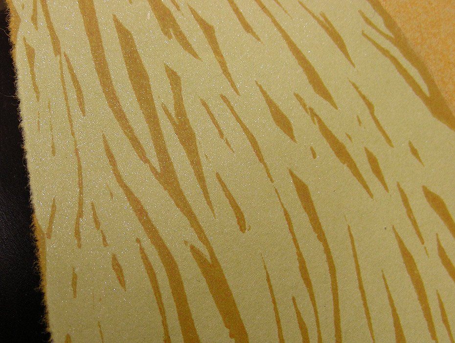 avocado green handmade paper with gold sparkles and printed ink