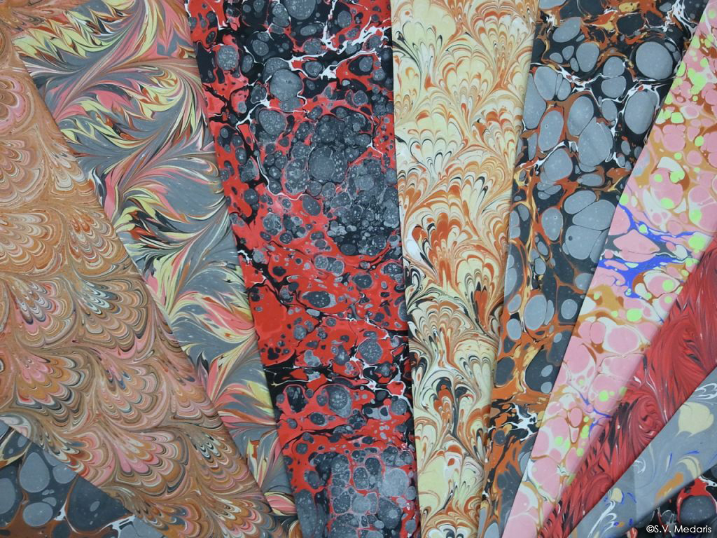 mosaic of marbled papers