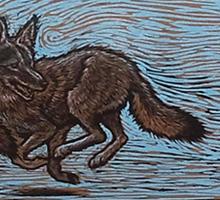 linocut coyote