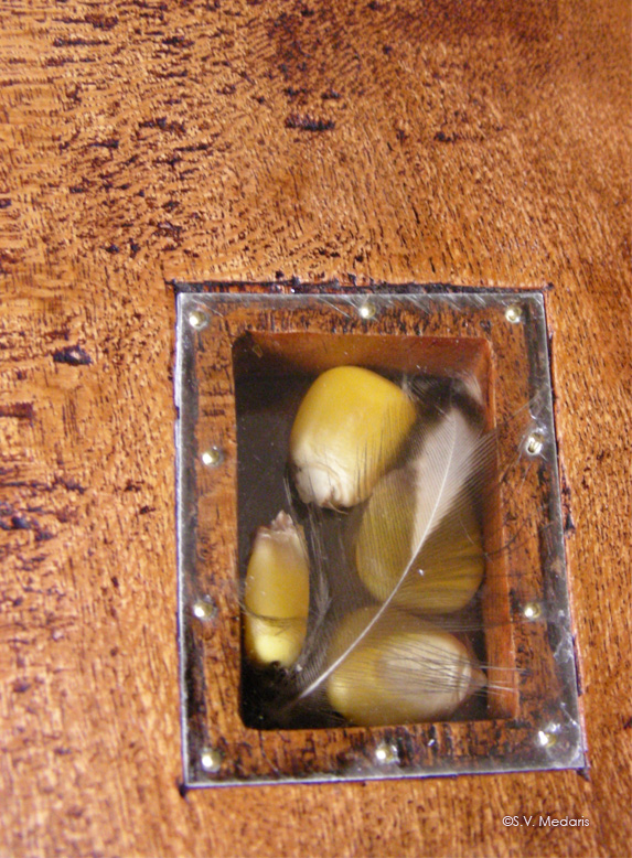 Closeup of mica window with corn inside