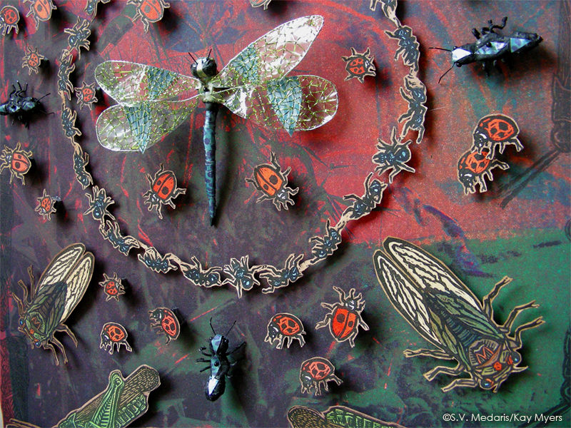 mixed media insects