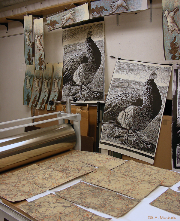 marbled paper and relief prints drying in studio