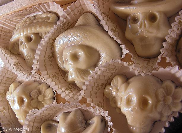 white-chocolate covered skulls
