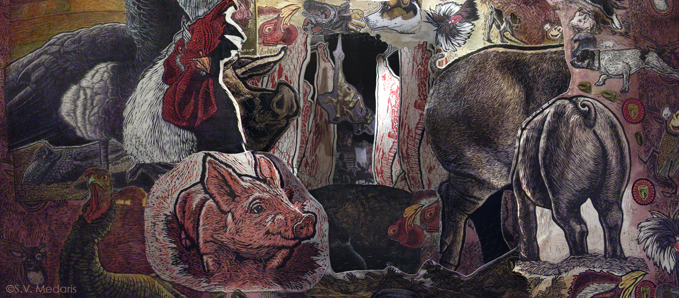 scene filled with relief-printed farm animals, carcasses and scenes of farm life