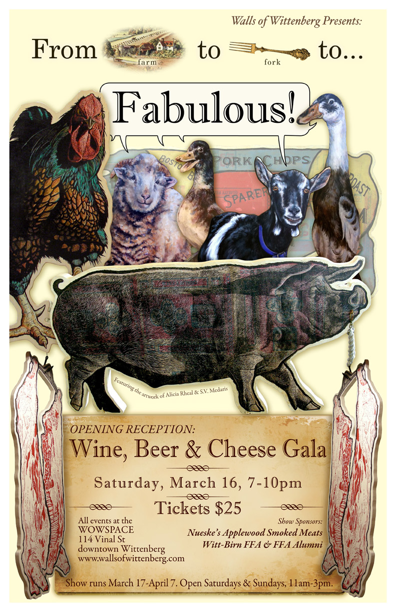 Poster for 'Farm to Fork (to Fabulous)' show, featuring artwork of S.V. Medaris and Alicia Rheal