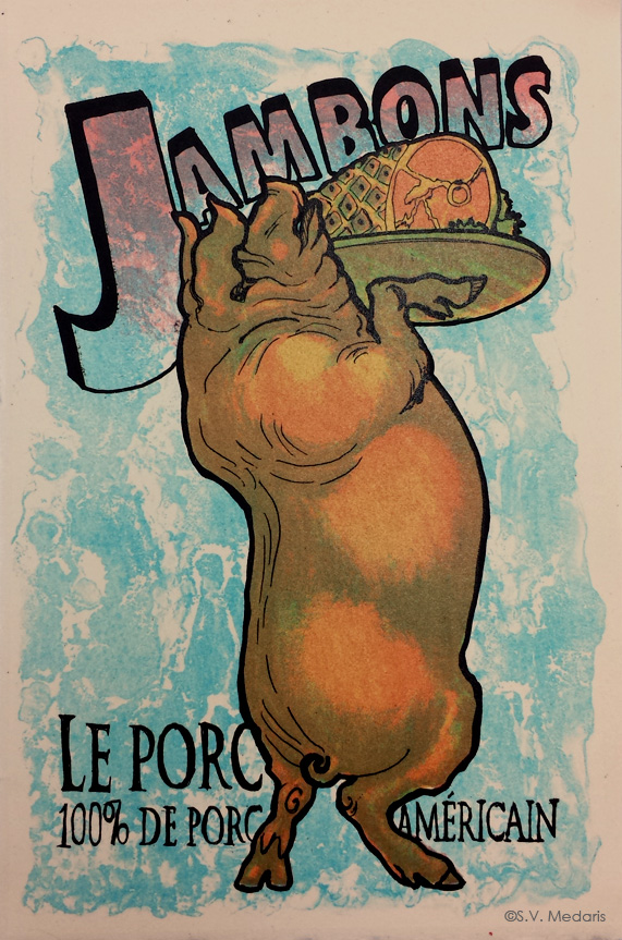 litho of hog holding platter with a ham on it. Background letters read: 'Jambons...Le Porc....100% de porc americain.