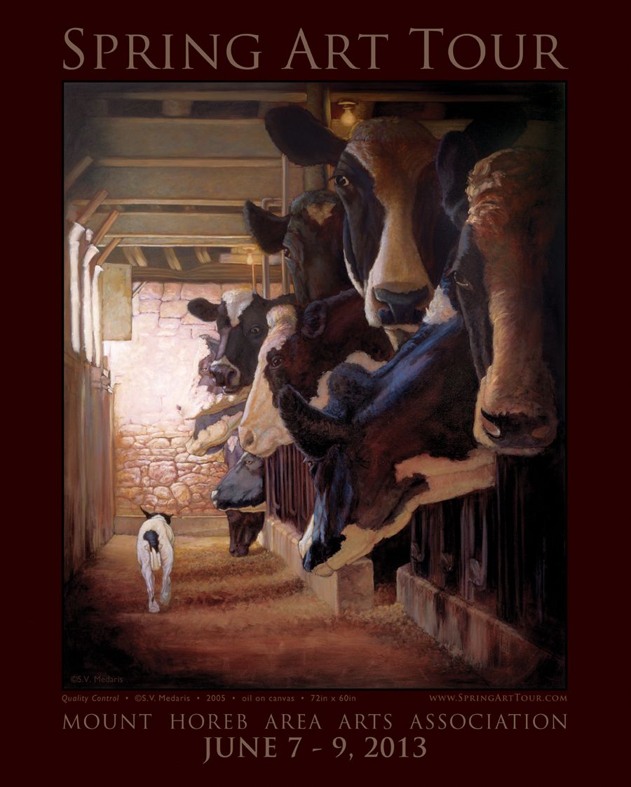 poster features scene inside of dairy barn with cows and little terrier by S.V. Medaris