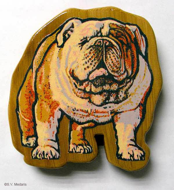 bulldog, reduction woodcut, upcycled