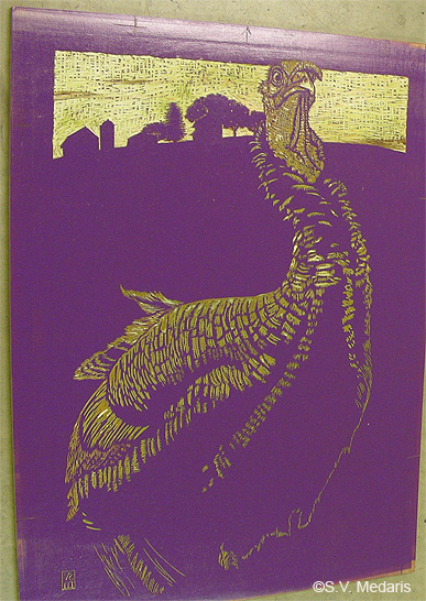 purple-inked woodcut block of turkey