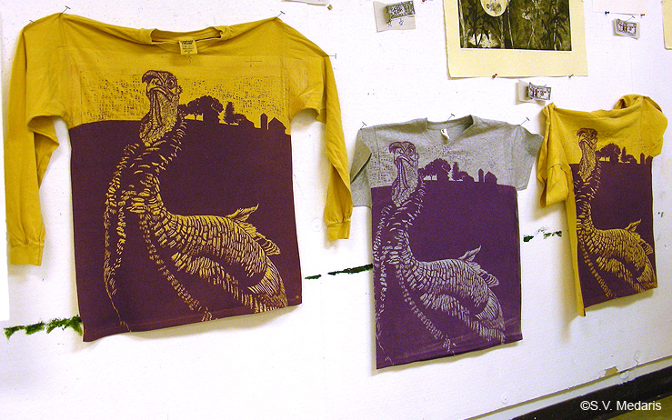 purple turkey print on 3 different tees