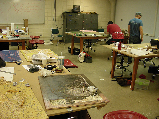 classroom with woodcut blocks in progress