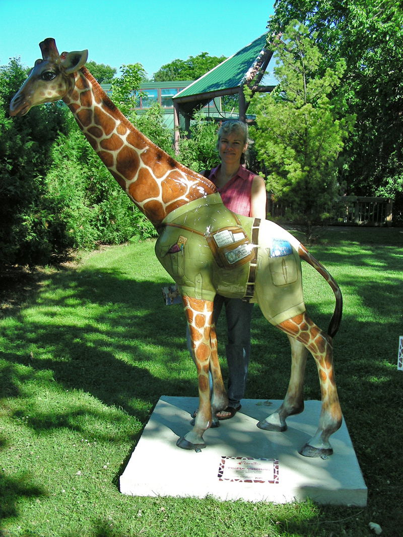 artist stands behind painted giraffe