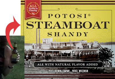 closeup of Potosi Brewery's Steamboat Shandy