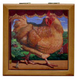 hinged, tile box with chicken