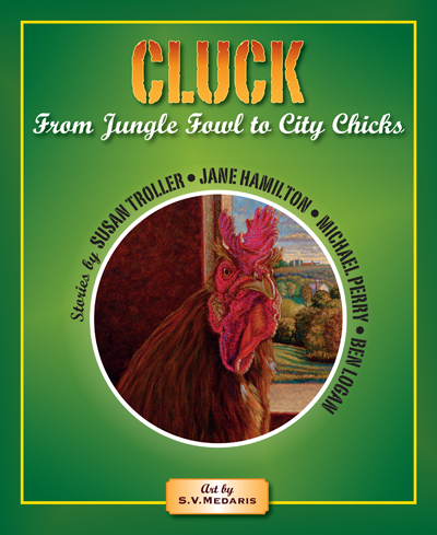 green cover of book featuring chicken portrait