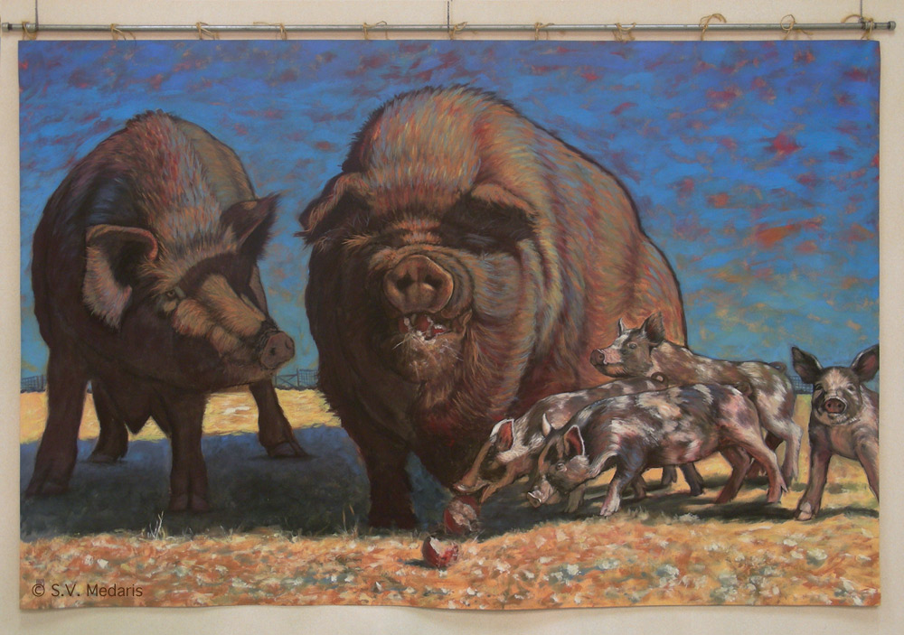 pastured hog, swine, acrylics, s.v. medaris, pearl, pearl before swine