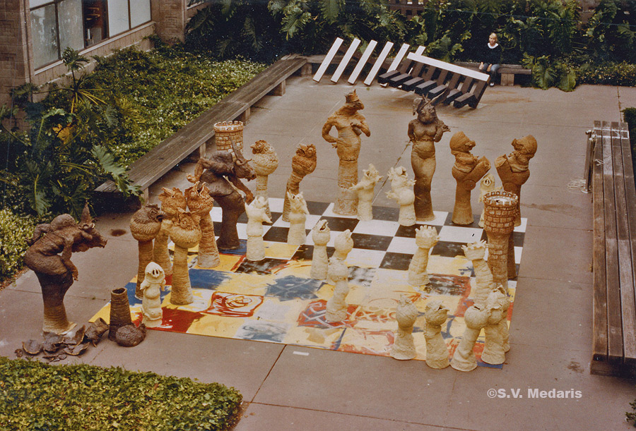 lifesize chess set made out of clay