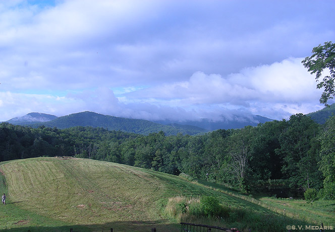 Early morning fog blankets the Blue Ridge Mountains