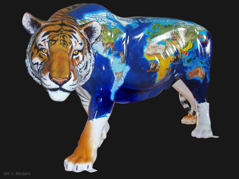 zoobilee tiger, s.v. medaris, cyber, painted fiberglass form