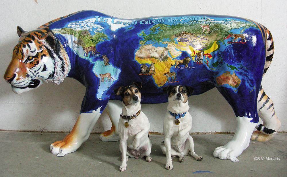 terriers, dexter, zuzu, tiger, zoobilee, s.v. medaris, fiberglass animal